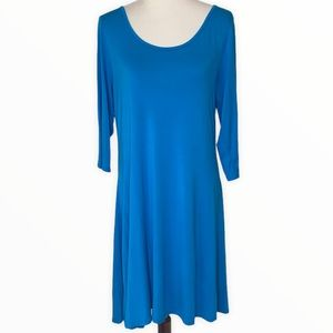 Lolly Wolly Doodle 3/4 Sleeve Blue Stretch Dress